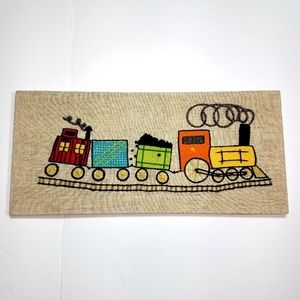 Other - Trains Caboose Finished Crewel Embroidery Wall Art